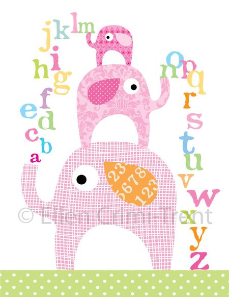 Elephant-nursery-print-girl